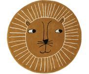 Tappeto leone rotondo in lana Lion