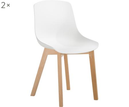 Sedia in plastica con gambe in legno Dave 2 pz