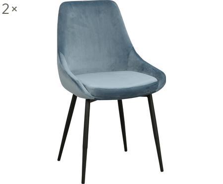 Sedia imbottita in velluto blu Sierra 2 pz