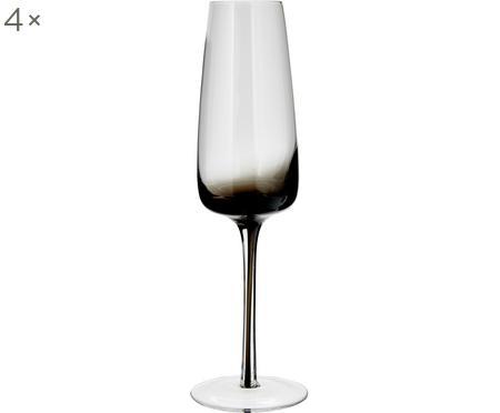 Flute champagne in vetro soffiato Smoke 4 pz
