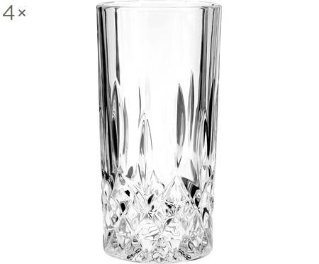 Bicchiere long drink con rilievo in cristallo George 4 pz