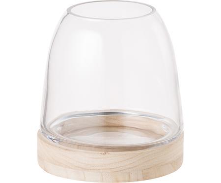 Portacandela in vetro e legno Filio