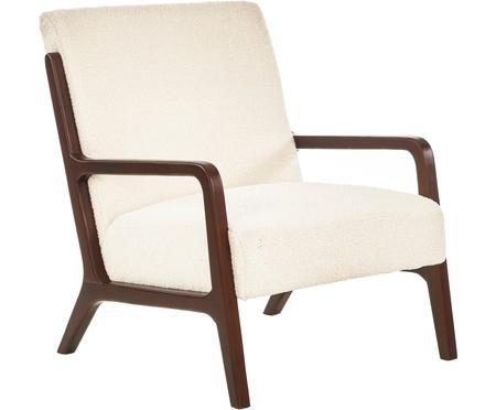 Sedia a poltrona in tessuto teddy con braccioli in legno Naja