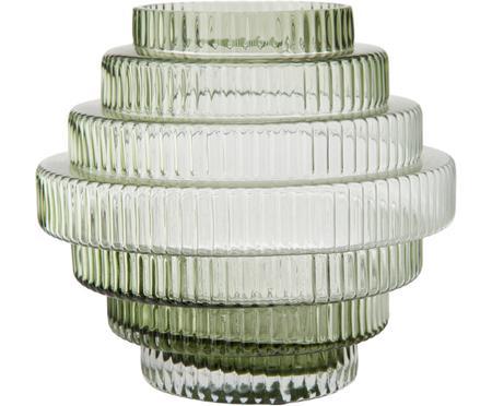 Vaso in vetro trasparente con riflessi verdi Rilla