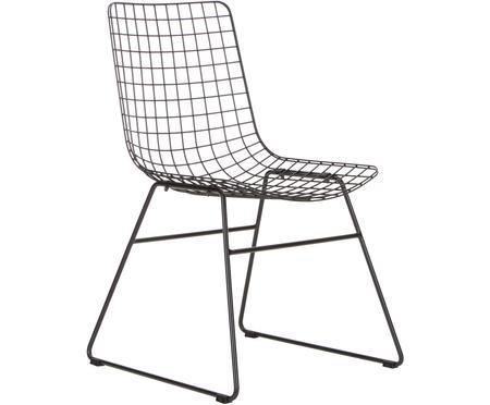 Sedia in metallo nero Wire