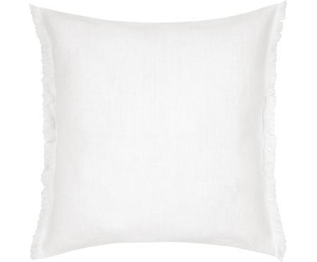 Federa arredo in lino bianco crema con frange Luana