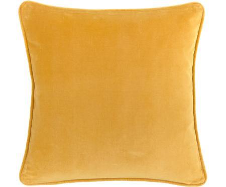 Federa arredo in velluto giallo ocra Dana