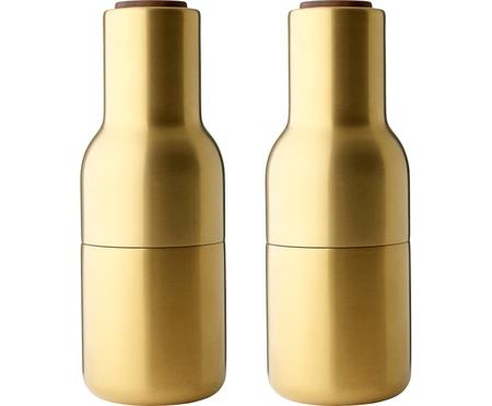Macina sale e pepe di design dorati con coperchio in legno di noce Bottle Grinder