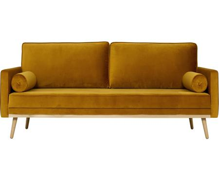Divano 3 posti in velluto giallo senape Saint