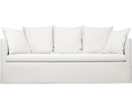 Divano 3 posti in tessuto bianco crema Mila