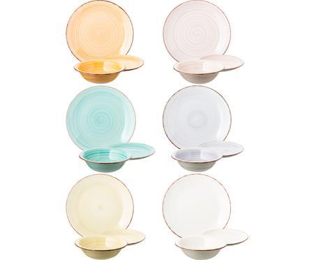 Set 18 piatti dipinti a mano in tonalità pastello per 6 persone Baita