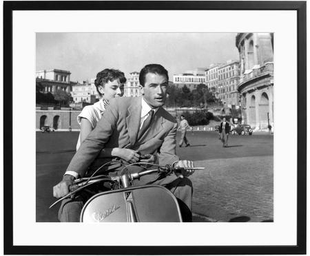 Stampa fotografica incorniciata Roman Holiday with Peck and Hepburn