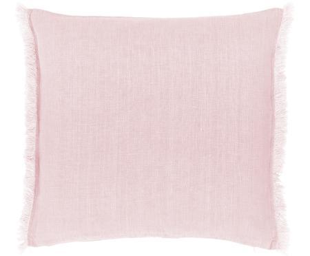 Federa arredo in lino rosa con frange Luana