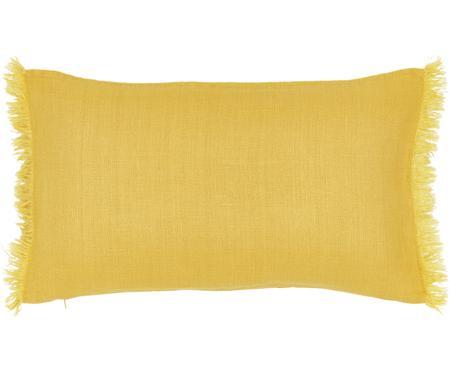 Federa arredo in lino giallo con frange Luana