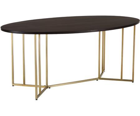 Tavolo ovale con piano in legno massiccio Luca