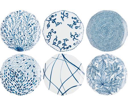 Set 6 piatti piani bianco/blu Vassoio
