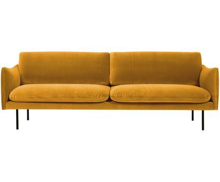 Divano 3 posti in velluto giallo senape Moby