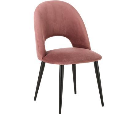 Sedia imbottita in velluto rosa cipria Rachel