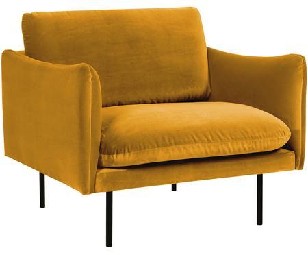 Poltrona in velluto giallo senape Moby