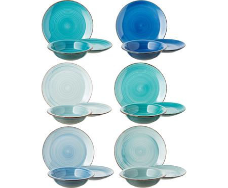 Set 18 piatti dipinti a mano in tonalità blu per 6 persone Baita