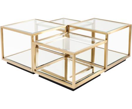 Set 4 tavolini da salotto con piano in vetro Luigi