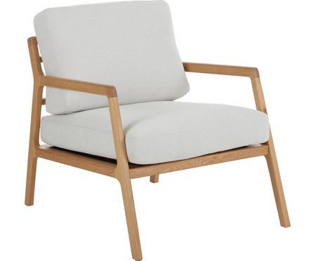 Sedia a poltrona con braccioli in legno di quercia Becky