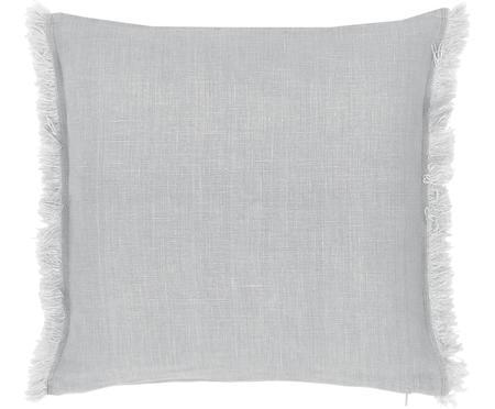 Federa arredo in lino grigio chiaro con frange Luana