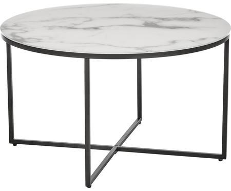 Tavolino da salotto con piano in vetro effetto marmo Antigua