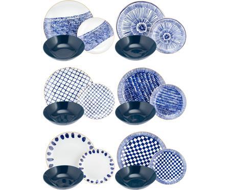 Set 18 piatti blu/bianco per 6 persone Mosai
