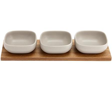 Set 4 ciotole in porcellana e legno d'acacia Essentials