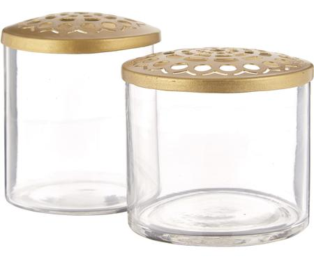 Set 2 vasi con coperchio in metallo Kastanje