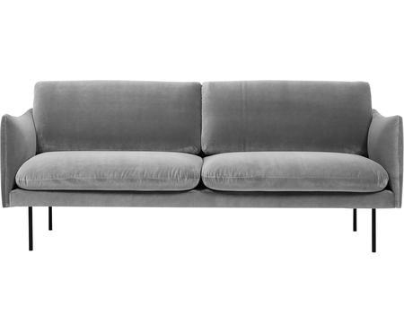 Divano 2 posti in velluto grigio Moby