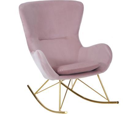 Sedia a dondolo in velluto rosa Wing
