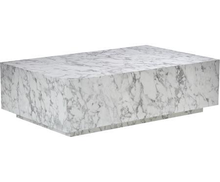 Tavolino da salotto bianco effetto marmo Lesley